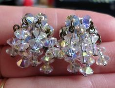 Vintage 60's iridescent cut crystal bead cascade clip on earrings made in England silver tone (2288)