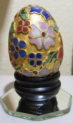 Vintage Cloisonne Egg on Wooden Stand.