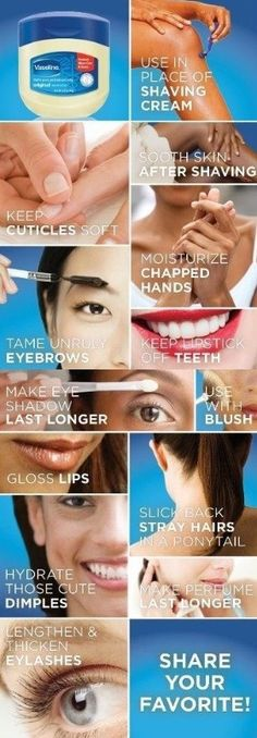 amazing beauty uses for vaseline-beauty. amazing beauty uses for vaseline-beauty. Beauty Make-up, Beauty Secrets, Beauty Care, Beauty Skin, Natural Beauty, Beauty Products, Beauty Guide, Face Beauty, Skin Products