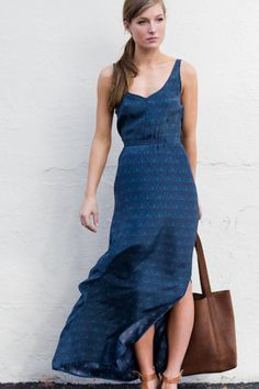 Yes Dress Long in Navy Peacock via Emerson Fry, $348 >> So lovely, wish it was priced in my budget!