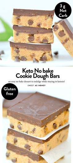Keto Cookie dough bars no bake healthy peanut butter chocolate chips bars with only 5 ingredients. keto + low carb + sugar free + gluten free and vegan. # no bake Desserts KETO COOKIE DOUGH BARS No Bake No Bake Cookie Dough, Healthy Cookie Dough, Cookie Dough Recipes, Chocolate Chip Cookie Dough, Healthy Cookies, Healthy Baking, Chocolate Chips, Chocolate Butter, Keto Cookies