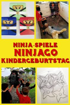 The ninja party was about learning the skills of the ninja masters and, of course, ultimately facing the evil. Each game was initiated by a scroll of text that the ninjas had deposited for the children. Lego Ninjago, Ninjago Party, Lego Boxes, Birthday Design, Baby Games, Lol, Baby Shower Parties, Halloween Crafts, Party Invitations