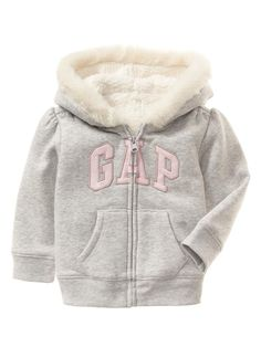 52c09f9dc15 BABY GAP Girls Faux Fur Trim Arch Logo Zip Hoodie Sweatshirt Sherpa Jacket  3-6M