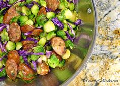 Gourmet Girl Cooks: Spicy Sausage & Sprouts - Quick & Easy Low Carb AND New Dessert Alert