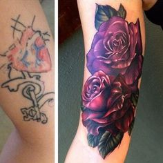 19 Ideas Flowers Tattoo Cover Up Ink Feather Tattoos, Rose Tattoos, Flower Tattoos, Body Art Tattoos, Sleeve Tattoos, Purple Tattoos, Trendy Tattoos, Tattoos For Guys, Forarm Tattoos