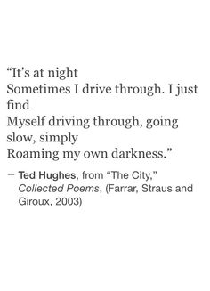 """It's at night sometimes i drive through"" -Ted Hughes"