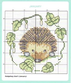 no color chart available, just use pattern chart as your color guide. or choose your own colors. Hedgehog Cross Stitch, Just Cross Stitch, Cross Stitch Needles, Cross Stitch Cards, Cross Stitch Animals, Counted Cross Stitch Patterns, Cross Stitch Designs, Cross Stitching, Cross Stitch Embroidery