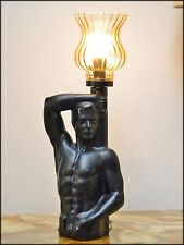 Vintage 70's Ceramic Torch Table Lamp with Glass Shade Nude Male Torso Statue