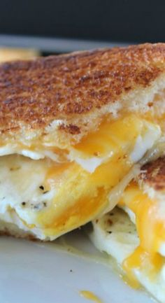 Fried Egg Grilled Cheese Sandwich is a delicious breakfast sandwich with fried e., Fried Egg Grilled Cheese Sandwich is a delicious breakfast sandwich with fried eggs, two type of cheese and then grilled to a golden brown. Breakfast Desayunos, How To Make Breakfast, Breakfast Dishes, Breakfast Recipes, Breakfast Sandwiches, Breakfast Healthy, Fried Eggs Breakfast, Eating Healthy, Breakfast Ideas