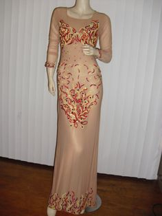 Couture skin-tone see-through mesh beaded w by Vintage50s60s70s