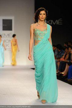 Teal sari by Sonaakshi Raj of the Lakme Fashion Week (LFW) Summer Resort 2014