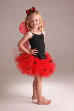 Lady bug tutu with matching wings and bow by Fancythatcreation, $30.00