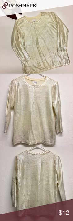 """High Shine Metallic Sweater Paint the town in shimmer while sporting this chic crew neck sweater. This sweater is soft and lightweight with a silver & grey finish. Perfect condition! 100% acrylic. Size small.  23"""" length x 19"""" chest  *NO TRADES*                                                             ⭐️Use the """"Buy Now"""" or """"Add to Bundle"""" button for Purchasing. 10% off bundling available. ⭐️ Charming Charlie Sweaters"""