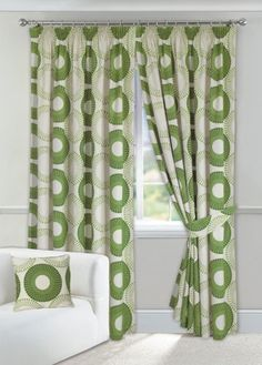 Textiles Direct Discus Green Lined Half Panama Curtains (Pair) x Green Cushion Covers, Discus, Cushions, Textiles, Curtains, Inspiration, Panama, Home Decor, Living Room