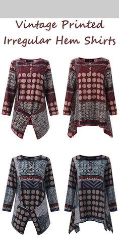 #Farbberatung #Stilberatung #Farbenreich mit www.farben-reich.com US$ 19.99 O-NEWE Vintage Printed Irregular Hem Shirts For Women