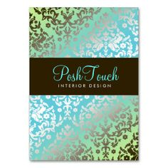 311-Dazzling Damask Turquoise & Lime Business Card Templates