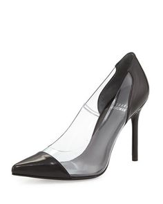 Onview PVC/Leather Pointed-Toe Pump, Black  by Stuart Weitzman at Bergdorf Goodman.