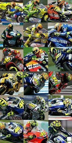Vale over the years Foto Valentino Rossi, Vale Rossi, Dark Phone Wallpapers, Bike Photo, Garage Art, Racing Motorcycles, Sport Bikes, Motogp, Cool Bikes