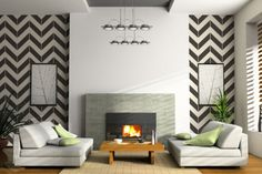 Chevron living room - paint & layout ideas for front living room