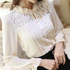 Beige floral lace hollow cut long sleeve chiffon shirt - Women Long Sleeve Shirts - Ideas of Women Long Sleeve Shirts - Beige floral lace hollow cut long sleeve chiffon shirt Kurti Neck Designs, Blouse Designs, Hijab Fashion, Fashion Dresses, Fashion 2018, Clothing Size Chart, Mode Hijab, Mode Vintage, Chiffon Shirt