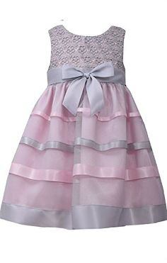 13e169045 Little Girls 2T4T PinkGrey Floral Lace and Ribbon Fit Flare Dress Bonnie  Jean Grey 2T >