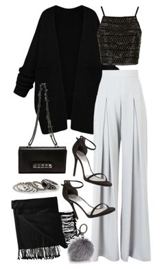 """""""Sans titre #2593"""" by christina95styles ❤ liked on Polyvore featuring New Directions, Topshop, AQ/AQ, Stuart Weitzman, Valentino, Adrienne Landau and MANGO"""