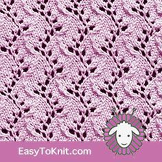 Gorgeous Lace Knitting Stitch Eyelet Lace Traveling Vine - Easy To Knit Lace Knitting Stitches, Crochet Stitches Patterns, Knitting Charts, Lace Patterns, Stitch Patterns, Baby Knitting, Crochet Baby, Loom Bands, Loom Knitting Projects