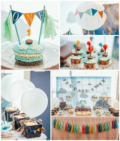 Up Up and Away 1st Birthday Party - some really cute hot air balloon / cloud / suitcase details. Travel party decor inspiration.