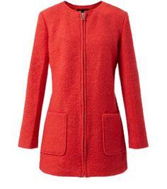 Red Collarless Zip Front Coat