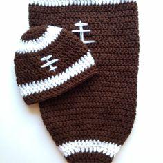 Baby football cocoon crochet hat baby boy by BloomingRoseCrochet, cocoon $19, hat $8