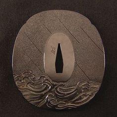tsuba w/ wave design Japanese Sword, Japanese Art, Katana, Samurai Weapons, Art Chinois, Art Japonais, Kendo, Nihon, Metal Crafts