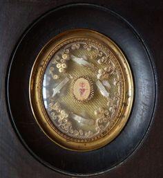 Reliquaire 19e siècle avec des reliques de Ste Chantal St Abondantii