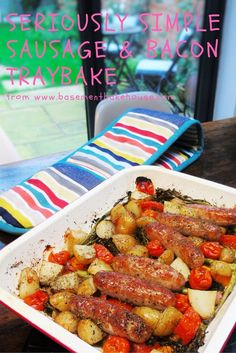 Seriously Simple Sausage & Bacon Traybake - Slimming World - Syn Free - Easy Recipe - Traybake - Tray Bake - Vegetables
