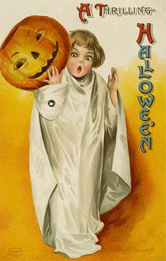 Vintage Halloween trick or treater postcard graphic