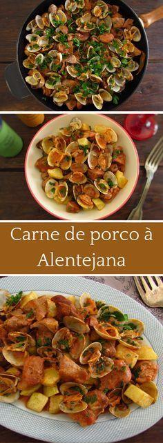 Carne de Porco à Alentejana (Portuguese Pork & Clams) Pork Recipes, Fish Recipes, Cooking Recipes, Brazilian Dishes, Portuguese Recipes, Pork Dishes, Clams, International Recipes, Brunch Recipes