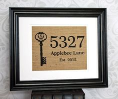 Personalized Housewarming Gift on Burlap - Home Address Sign with Monogram Key