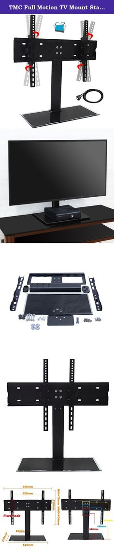 """TMC Full Motion TV Mount Stand & Wall Mount Bracket for 37""""-55"""" LCD TVs, Height Adjustable, Free 40"""" HDMI Cable. This mount fits TVs of following brands as well as other brands that may not be listed (please check VESA and weight first): Panasonic/ Sharp/ Samsung/ LG/ Sony/ Philips/ TCL/ Hitachi/ Sanyo/ Hisense/ Haier, etc. Please find 4 mounting holes on the back of the TV, and check the width and height. If they are one of below, the product will fit your screen: 24""""x16"""" (600x400mm)..."""