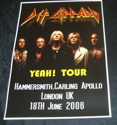 Def Leppard Concert Poster-Hammersmith,London UK 2006 A3 Size Repro   eBay