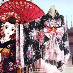 New Japanese Oriental Elegant Pink and White Kimono Yukimura Chiduru Costume Set