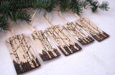 Rustic Birch Bark Gift Tags Woodland Birch by TwigsandBlossoms
