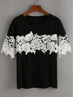 Black Contrast Lace T-Shirt. Black & white can never fade. Designed with lace make it cute and chic for ladies. Find more fashion items at shein.com.