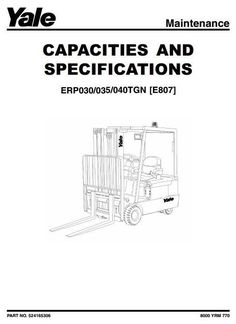 Original Illustrated Factory Workshop Service Manual for Yale Electric Forklift Truck Type E807.Original factory manuals for Yale Forklift Trucks, contains high