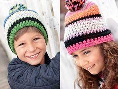 Детская шапка с помпоном - схема вязания крючком. Вяжем Шапки на Verena.ru