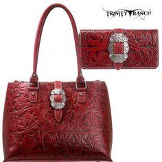 Montana West Trinity Ranch Western Buckle Tool Leather Handbag Purse Wallet Set   eBay
