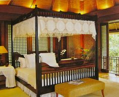 Filipino Home Styling. A Majestic Four Poster Bed Filipino Architecture, Philippine Architecture, Style At Home, Filipino Interior Design, Chettinad House, Philippine Houses, Modern Bedroom Furniture, Indian Furniture, Antique Furniture