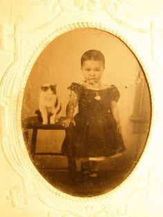 girl with cat tintype in sleeve
