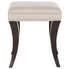 Safavieh Furniture - Brimming with designer details, the Diva ottoman's whimsical animal horn-shaped birch wood legs are finished in espresso to contrast taupe linen upholstery Dark Grey Rooms, Square Ottoman, Vanity Stool, Vanity Chairs, Upholstered Ottoman, Taupe, Diva, Espresso, Home Decor