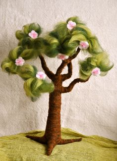 Waldorf inspired needle felted Tree  Spring and Apple door MagicWool