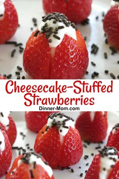 No-Bake Cheesecake Stuffed Strawberries are easy to make and stunning to behold! #cheesecakestuffedstrawberries