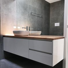 Saturday bathroom inspiration. Polytec classic white sheen vinyl wrap vanity completed in Mornington with a solid recycled timber benchtop.